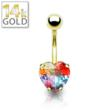 Image of 14k Gold Belly RIng: Heart & Illuminating Gem