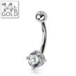 Image of 14k Gold Belly Ring: White Gold Button Ring Round Gem