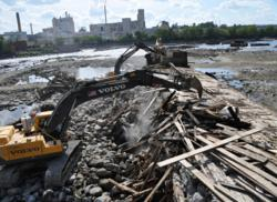 Work to remove the Great Works Dam from Maine's Penobscot River began in June.  Photo Credit: penobscot River Restoration Trust