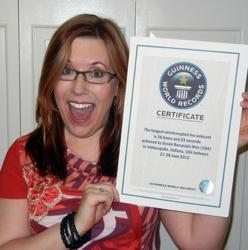 Baroncini-Moe with her Guinness World Records certificate.