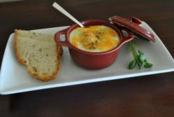 Photo of eggs en cocotte, a typical breakfast offering at Cliff Walk Cottage on The Sea