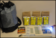 24 Hr Pack. Drawstring nylon bag, emergency food, emergency water, LED flashlight, and more!