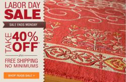 40% off + Free Shipping Labor Day Rugs Sale