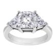Square Cushion Cut Engagement Ring With Trillions In Platinum