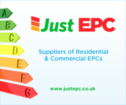 Just EPC logo and illustrations showing an energy performance rating