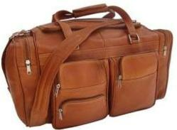 Piel Pocketed Leather Duffel Bag