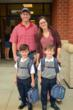 An Everest family arrives to school on Monday, ready for the first day of school.