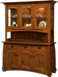 A classic Mission design marks the Colebrook Dining Hutch.