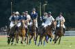 Harry Winston and Heathcote Polo teams fight for the ball in the final chukker of the Royal Salute Jubilee Cup