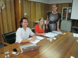 SPTO Consultants Peter Bui and Martina Kocian from PB Web Development signing the contract, overseen by Activity Coordinator, Pauline Benson at the SPTO Office.
