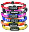 These fabric wristbands feature bright colors, 1200 gauss magnets, and minus ion producing materials.