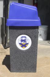 Johnson & Wales Stone Aggregate Trash Receptacle
