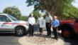 (L-R) Admiring the new official Firewise Community signage are Jim Lamar, Pres. of the Barton Creek Lakeside Property Owners Assn.; Karen Lacey, a Spicewood resident and Secretary-Treasurer of the Spi