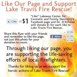 The flyer for the Lakeway Center's Facebook campaign. The Austin dentists are encouraging fans to like their page and share the page with their friends.