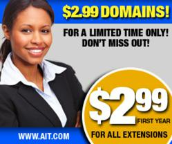 Register & Transfer  Domains for $2.99
