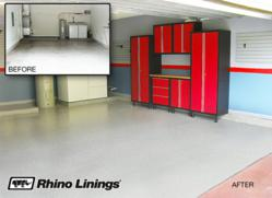 Grand Prize Package featuring Rhino Linings polyasparic floor coating and NewAge garage cabinetry