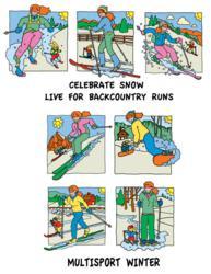 Downhill ski, backcountry ski, cross country ski, snowboard, snow shoe