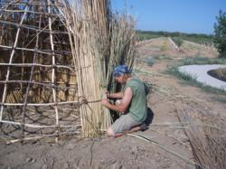 Fossil Discovery Center director Blake Bufford works on constructing a Yokuts Indian home using authentic materials and methods.