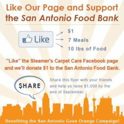 San Antonio carpet cleaning experts at Steamer's Carpet Care ask people to like their page to donate money to the San Antonio Food Bank.