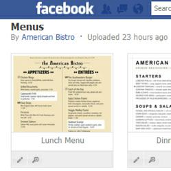 Publish your restaurant menus on Facebook