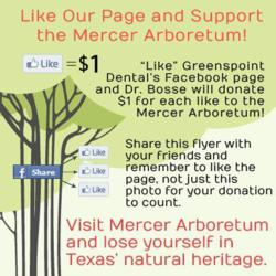 Houston dentists at Greenspoint Dental ask people to donate money to Mercer Arboretum by liking their Facebook page.