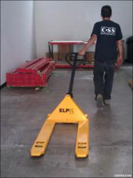 Our standard pallet jack model ELP55 is available in stock.