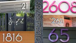 Modern house numbers in brushed and powder coated aluminum by Moderndwellnumbers.com