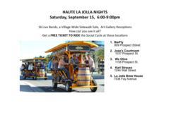 Social Cycle, Free Event, La Jolla, Haute La Jolla Nights