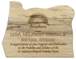 Plaque presented to USA Military Medals