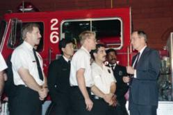 President Bush with fire fighters