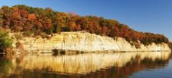 A fall view of Buffalo Rock from the Illinois River.