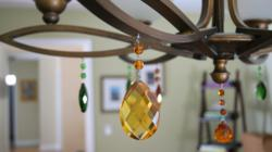 Fall-Inspired Light Charms on Chandelier