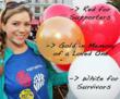 The three Light The Night Walk balloon colors: red for supporters, white for cancer survivors and gold in memory of a loved one.