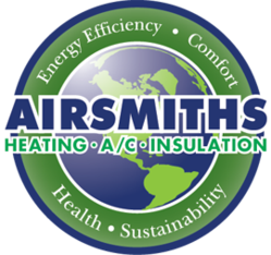 Circular grean and white Airsmiths logo reading heating, air conditioning, and insulation in Sacramento CA.