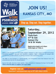 Flyer for the participation in The Walk to Cure Psoriasis by The Skin and Vein Center, providers of Liberty dermatology.