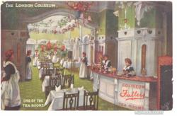 Postcard: Tea Room at the London Coliseum, one of a large collection of postcards about tea