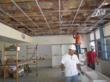 New ceiling grid and casework, installed by volunteer companies: provided through USGBC-OC and McCarthy.