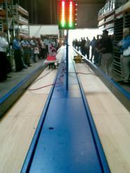 Belt Sanders race down a 75-ft. track