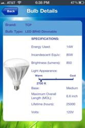 The Light Bulb Finder app displays specifications of recommended energy-saving bulbs.