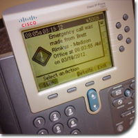An InformaCast text broadcast on a Cisco IP phone.