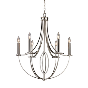 elk lighting dione 6 light chandelier in polished nickel 101216 bathroom chandelier lighting