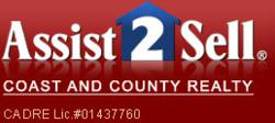 Red and blue Carlsbad real estate professionals Assist to Sell logo.
