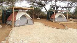 Two man tents with shower cubicle and toilet in Kenya