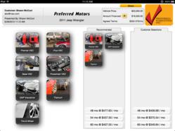 iPad menu used car warranty financing