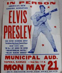 Vintage 1956 Elvis Presley Topeka, Kansas Municipal Auditorium Concert Poster