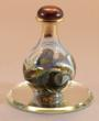 Contemporary Glass Olive Green Marbleized Tear Bottle