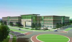 A rendering of the new Perceptive Software headquarters at Lenexa City Center in Lenexa, KS. Architect - Klover Architects