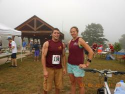 Andrew Rozzi and Stefanie Kozuszek of Gentle Giant's DC Branch are all smiles before racing in the XTERRA EX2 Off-Road Triathlon