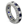 Sapphire And Diamond Look CZ Eternity Band