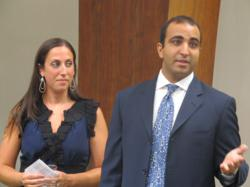 Sara and Danny Ambalu of Ambalu Jewelers address attendees at Sid Jacobson JCC's Kick Off event.